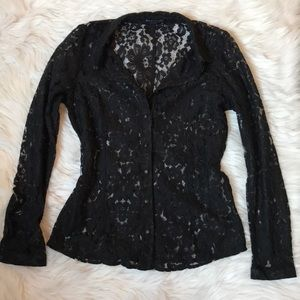 BCBGMaxazaria Black Lace Long Sleeve Top